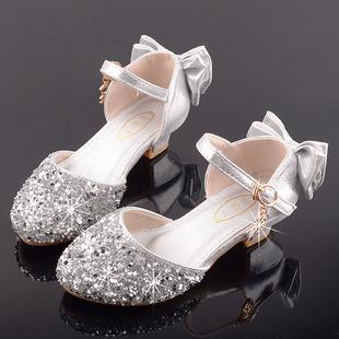 女童高跟公主鞋模特走秀演出皮鞋银色配儿童礼服裙闪亮舞台水晶鞋图片