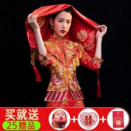 红盖头新娘结婚头纱中式秀禾红色半透明蕾丝高档流苏蒙头刺绣喜帕