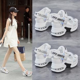 厚底凉鞋女2020年新款内增高网红夏季鱼嘴松糕高跟坡跟超火休闲鞋图片