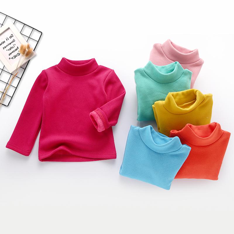 童装女童高领打底衫加绒秋冬新款韩版男女童上衣宝宝加厚长袖T恤