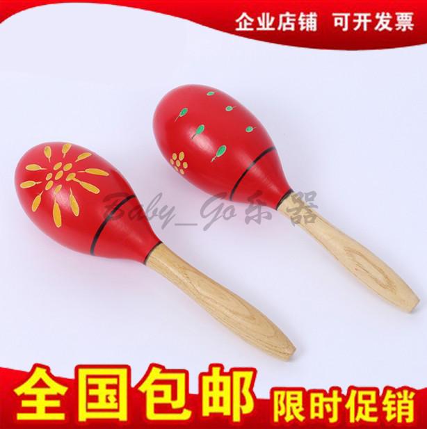 包邮奥尔夫沙锤 儿童打击乐器幼儿园早教玩具大号木质刻花沙球