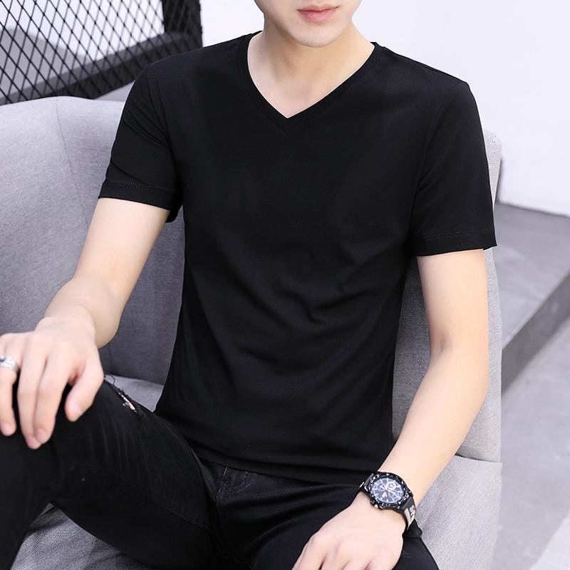 男士纯棉t恤短袖v领修身潮流打底衫体��半袖夏季男装纯色衣服长袖