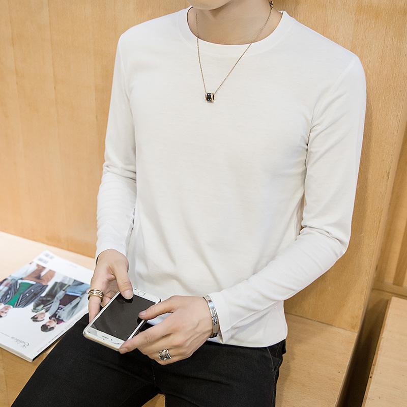 2020男士长袖t恤男装纯棉衣服纯色秋衣打底衫白体桖夏季潮流短袖