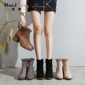 Hundreds of England 2019 women's autumn and winter single boots thick heel short boots Martin boots ankle boots plus velvet small heel women shoes