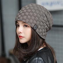 韩国男女时尚秋冬cu5织帽保暖an款百搭毛线帽套包头加绒帽子