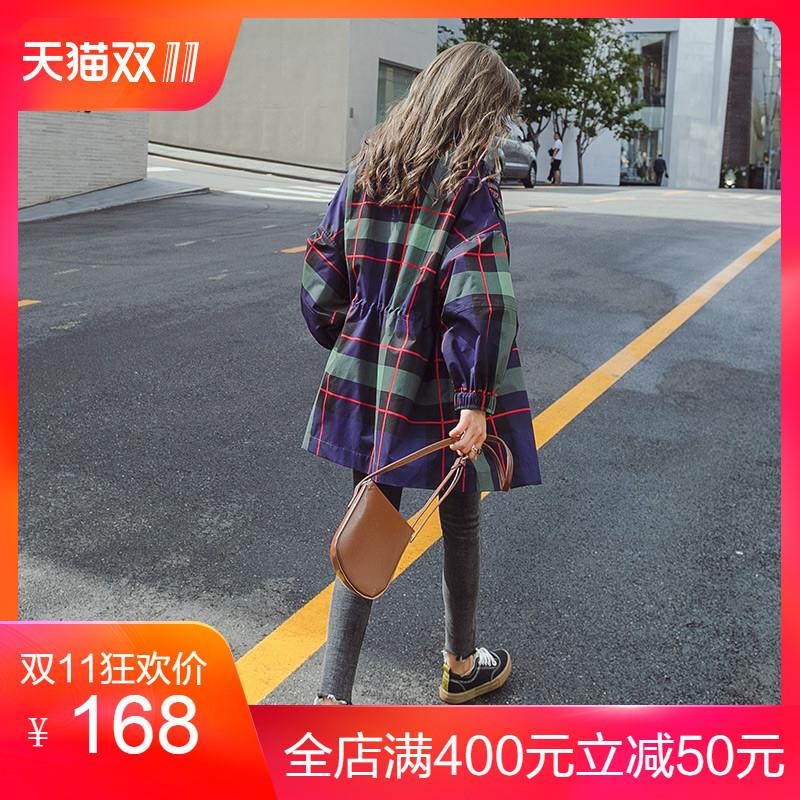 格子风衣女中长款韩版2018新款秋季短款矮小个子薄款流行早秋外套
