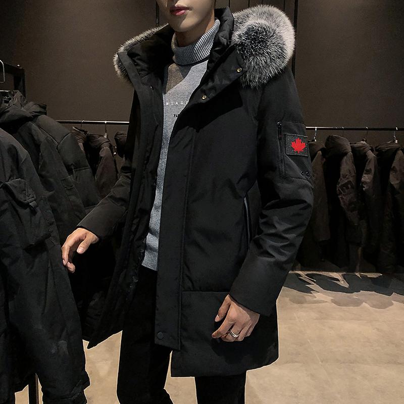 羽绒服男冬季2019新款韩版潮流修身男装外套男士中长款加厚帅气潮