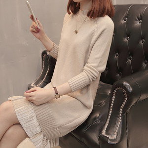 2019 autumn and winter new mid-length half-high collar long-sleeved sweater skirt pullover thick warm sweater women's Korean version