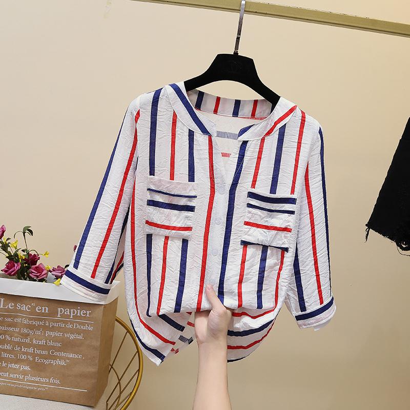 条纹雪纺衬衫女韩版设计感小众2019新款衬衣仙气上衣洋气超仙时尚
