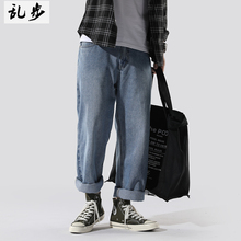 ins超火的cec裤子男直筒百cu12牛仔裤an伦裤宽松潮流老爹裤