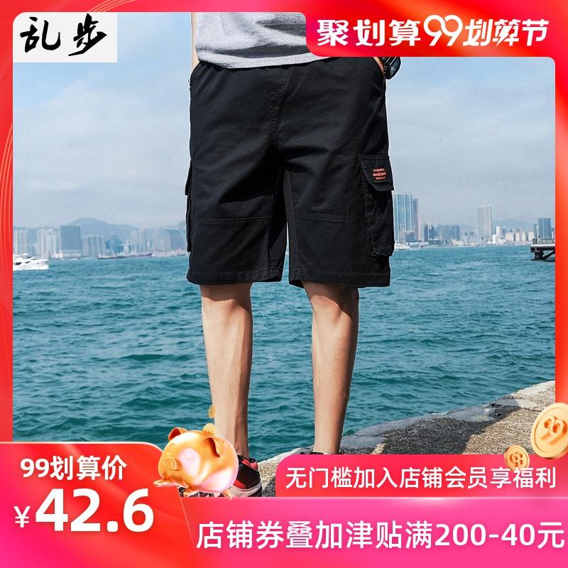 原宿风裤子男短裤夏季韩版潮牌ins超火的宽松休闲五分运动工装裤
