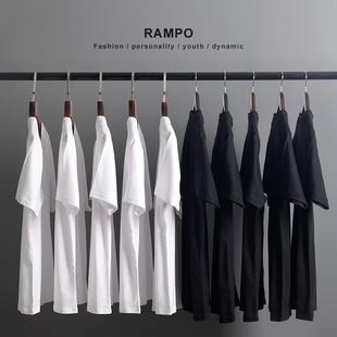 日本重磅厚实纯棉纯色短袖T恤男女同款全棉圆领打底衫潮白色半袖图片