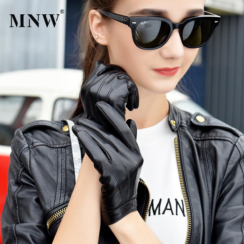 女士头层羊皮手套女短款薄款修手触屏加绒保暖韩版驾驶真皮手套女