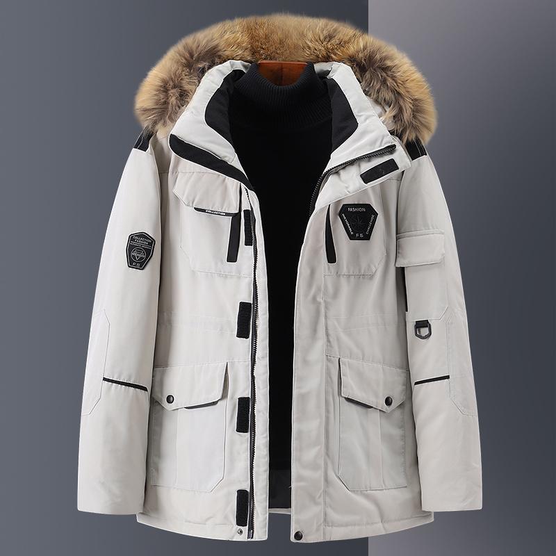 2020年冬季新款加厚羽绒服男士大毛领短款情侣工装外套潮流品牌正