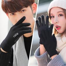触屏手套男士冬季加绒加厚保暖韩版针织毛线棉情侣女学生骑行五指