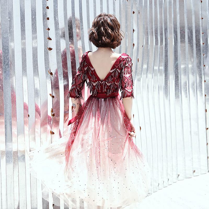 敬酒服新娘酒红色伴娘平时可穿法式梦幻星空渐变小个子晚礼服裙女