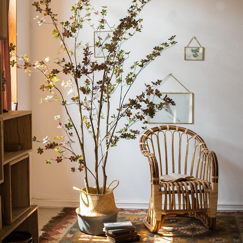 掬涵 日本瓣叶树仿真花绿植盆景大树装饰摆件橱窗会所客厅卧室