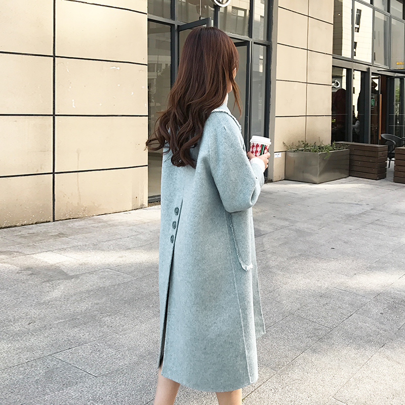 复古双面羊绒大衣女中长款2019年秋冬新款宽松小个子羊毛呢子外套