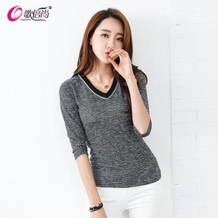 歌倍尚2020春装新款中袖T恤女V领五分袖韩版修身上衣打底衫女装潮