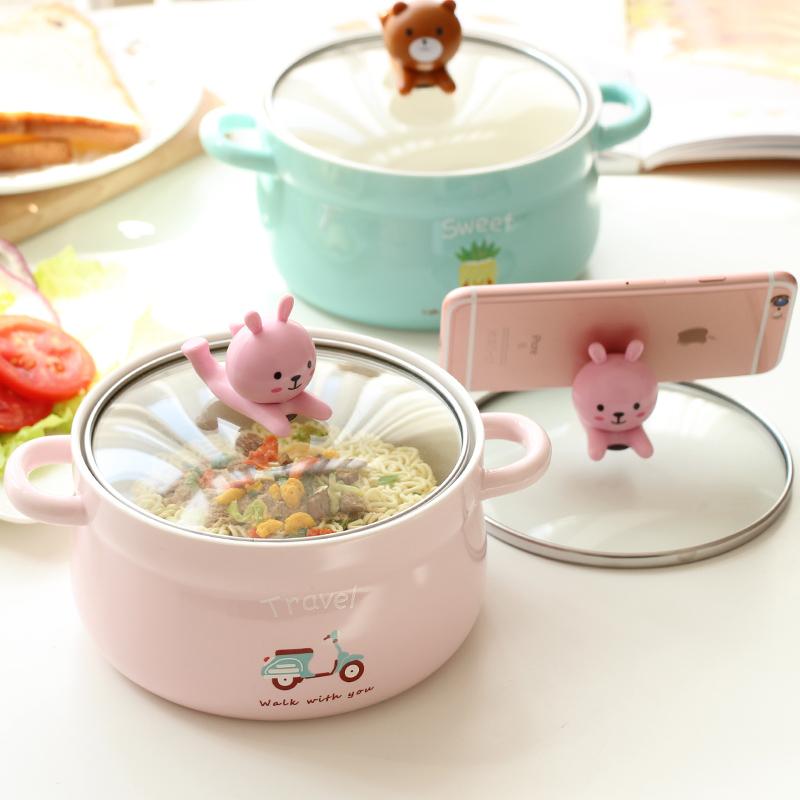 日式卡通大号泡面碗带盖双耳陶瓷碗宿舍学生可爱饭碗家用汤碗套装