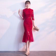 新娘敬cn0服旗袍2rt款改良红色蕾丝结婚回门服订婚礼服连衣裙女