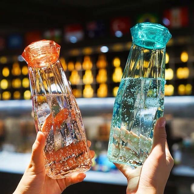 创意钻石水晶杯简约夏季学生情侣杯便携防漏玻璃水杯少女随手杯子