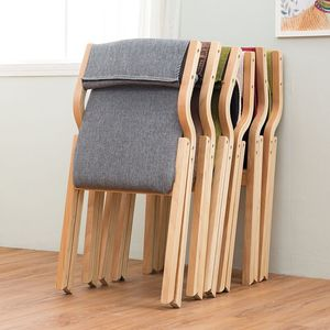 Solid wood folding chair washable simple home back fabric folding dining chair office computer chair desk leisure chair
