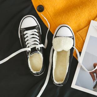 冬季加绒低帮帆布鞋子女2020新款潮鞋韩版百搭学生板鞋保暖二棉鞋