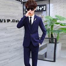 Youth suit men's suit three piece suit dress bridegroom's wedding best man group casual dress solid color coat