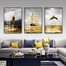 Living room decorative paintings modern simple Nordic sofa background wall hangings light luxury restaurant atmospheric Crystal porcelain triple murals