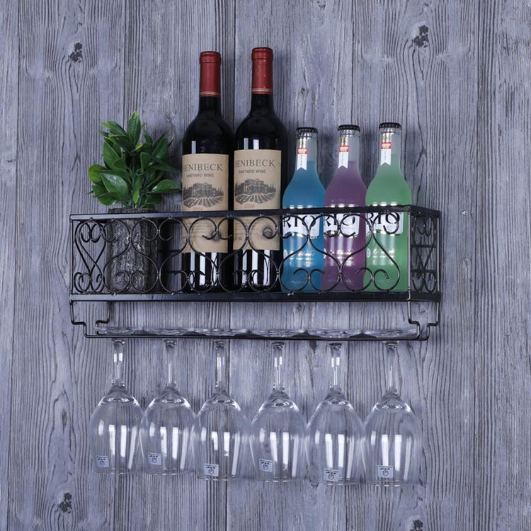 家用红酒架红酒杯架壁挂式高脚杯架倒挂创意酒架悬挂葡萄酒架摆件