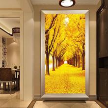 黄金满地十字绣线绣新款客厅玄关竖款yo14廊现代2b花全绣线