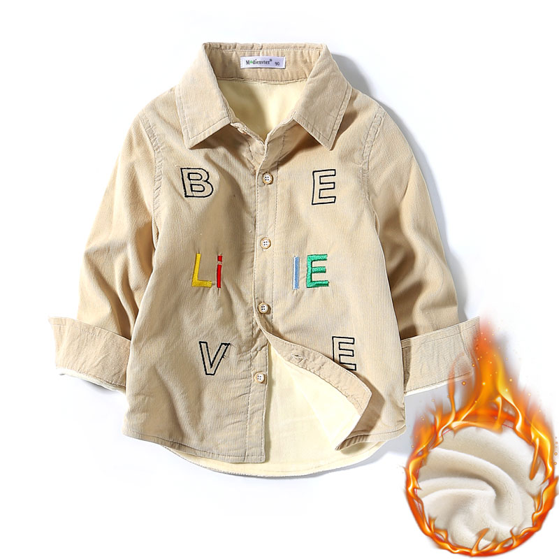 男童加绒衬衫中小童长袖灯芯绒保暖衬衣儿童纯棉翻领加厚衬衫潮