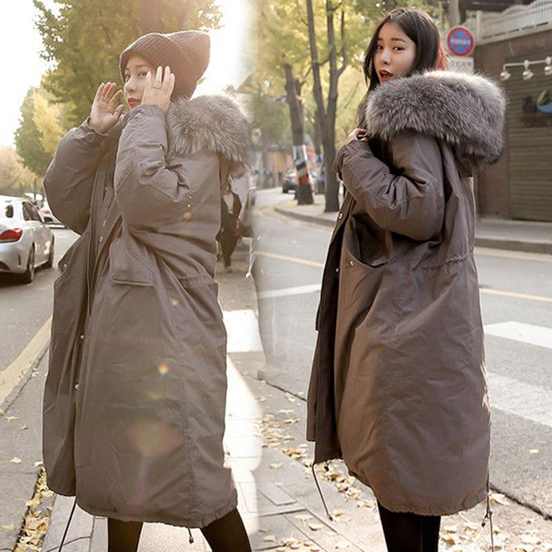 冬装外套女韩版中长款大毛领加厚棉衣2017新款学生棉服过膝棉袄女