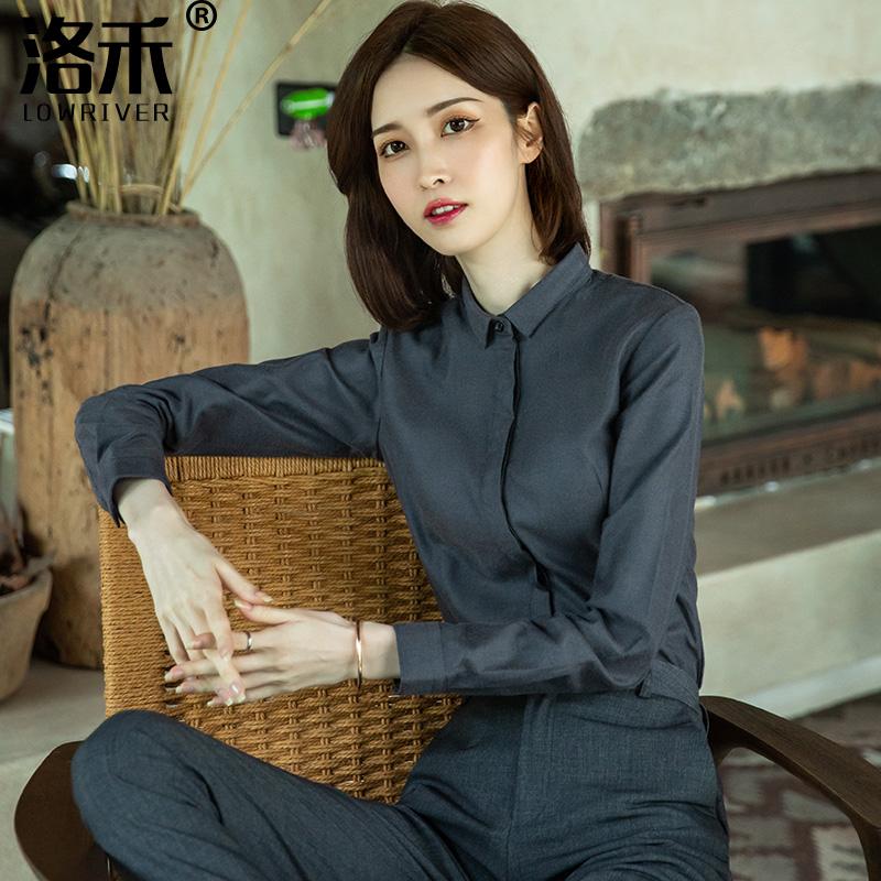 磨毛衬衫女长袖加厚2021秋百搭设计感小众上衣职业格子加绒灰衬衣