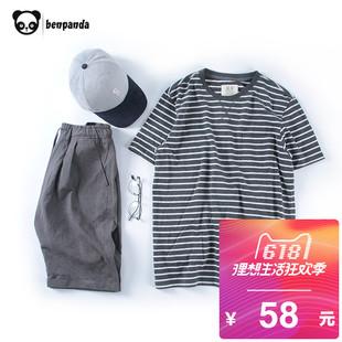熊猫本 条纹短袖男潮圆领 夏装