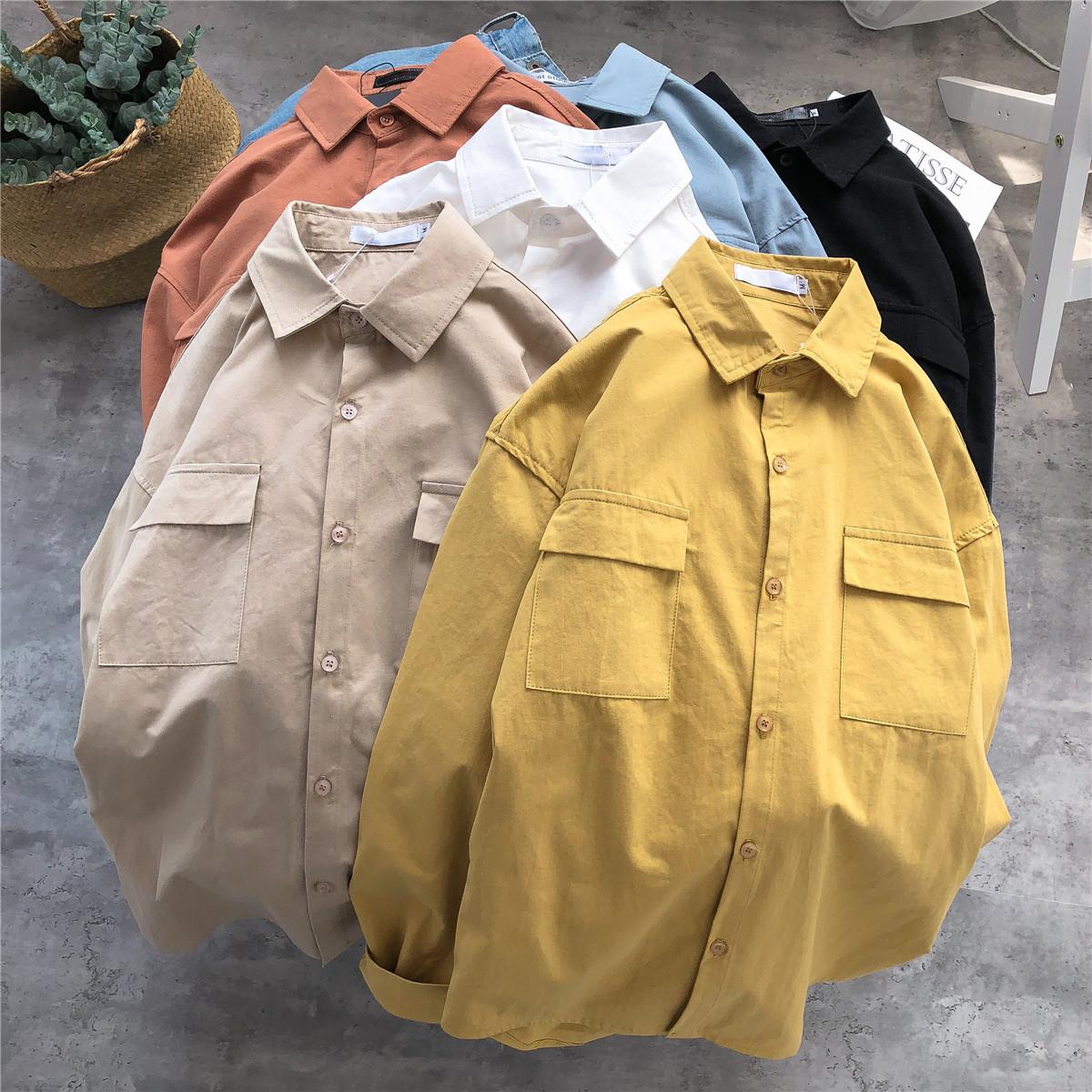 衬衫男长袖韩版ins超火的潮流工装帅气文艺休闲衬衣外套港风寸衫