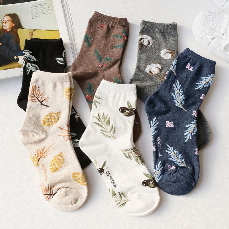韩国正品复古文艺植物花卉纯棉中筒袜子女进口短袜ins风女士棉袜