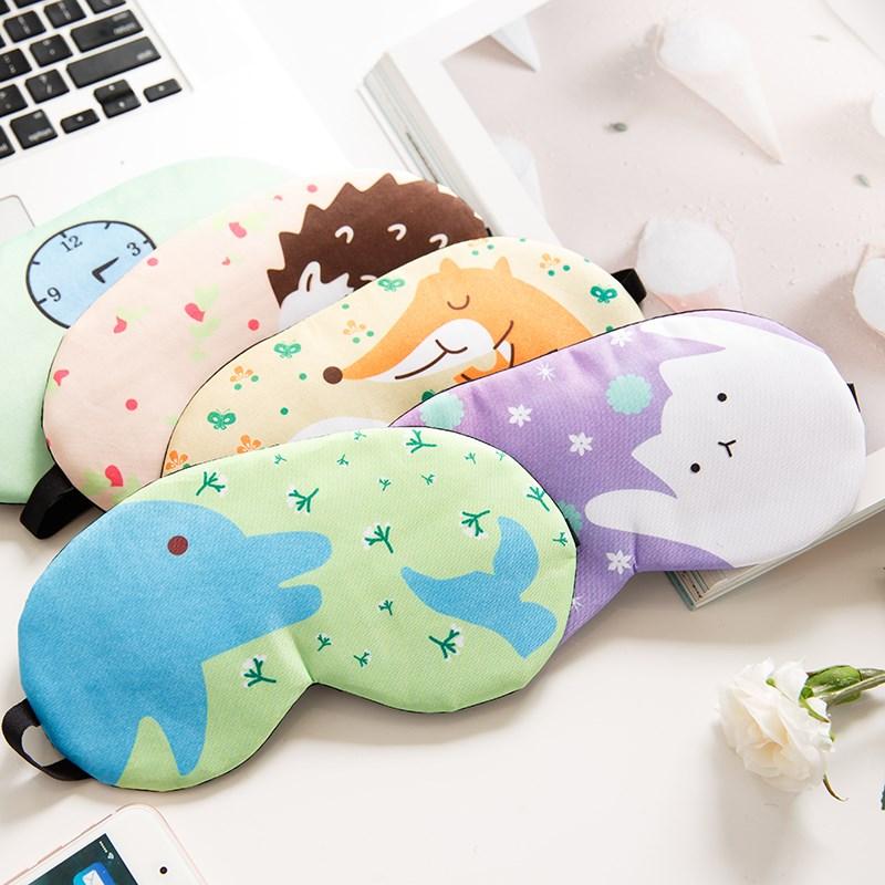 韩版个性卡通可爱挂耳式儿童纯棉冰袋睡眠眼罩 透气遮光男女通用