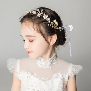 歌宴尔儿童礼服配饰女童发饰发箍花环头饰小花童女孩头箍金色饰品