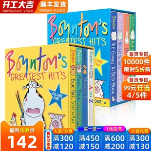 英文原版8册 Boynton's Greatest Hits Sandra Boynton The Going to Bed Book/Moo Baa La La La,horns to toes 幼儿启蒙入门纸板