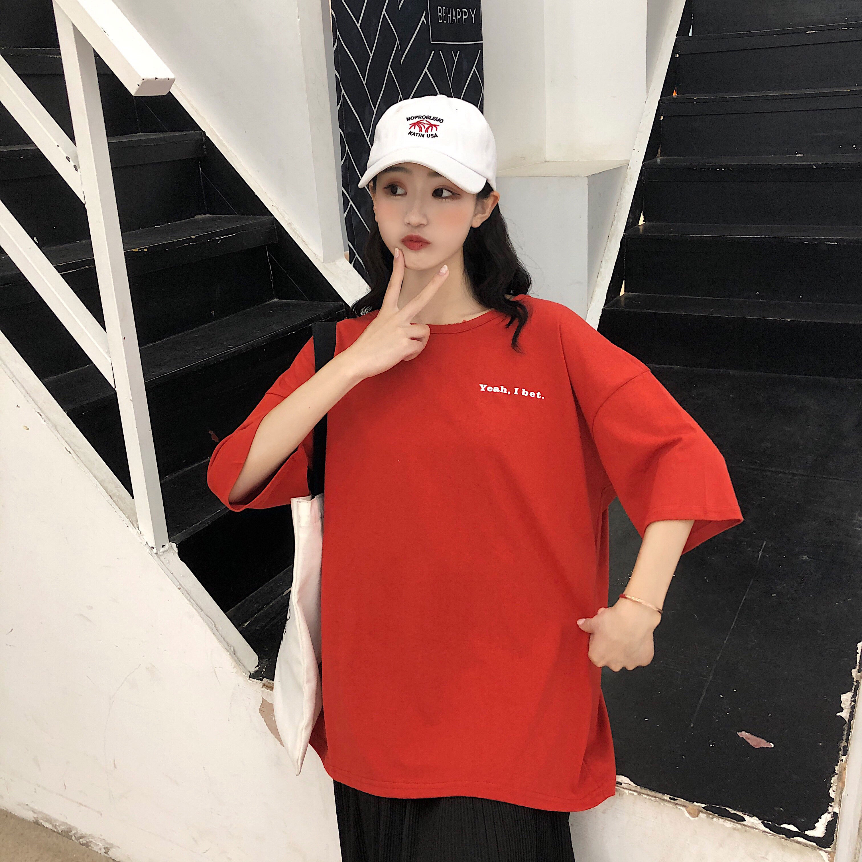 新款印花短袖t恤女夏季2019款韩版新款百搭宽松学生简约休闲打底-自然坊服饰-