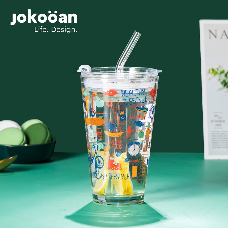 可爱创意透明涂鸦玻璃杯高颜值网红牛奶果汁杯子密封儿童吸管水杯