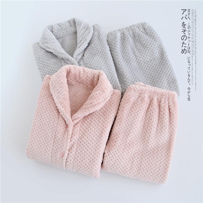 全新面料升级~日本高级法兰绒男女情侣款秋冬保暖睡衣家居服套装