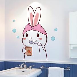 卡通可爱浴室卫生间厕所防水贴纸墙贴玻璃贴瓷砖自粘墙面装饰贴画