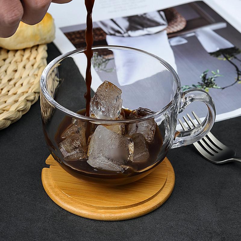 朴系日式玻璃牛奶早餐杯带盖勺泡麦片杯子家用创意水果大号咖啡杯