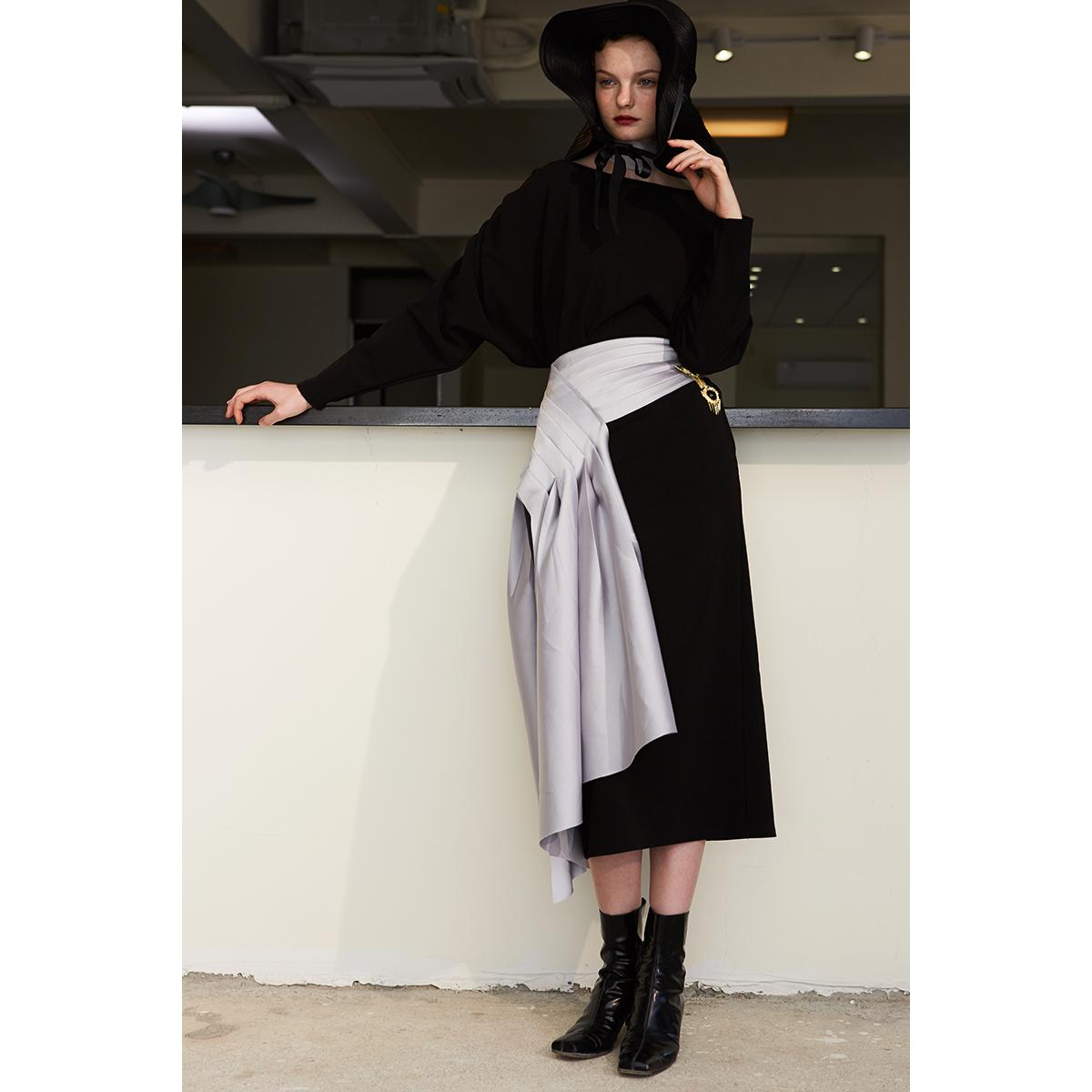 灰缎面光感排褶收腰设计散口拼接装饰半裙 RIMLESS无边设计师品牌