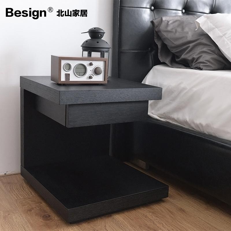 现代简约创意床头柜时尚床边柜小边几黑白色烤漆可定制特价包邮