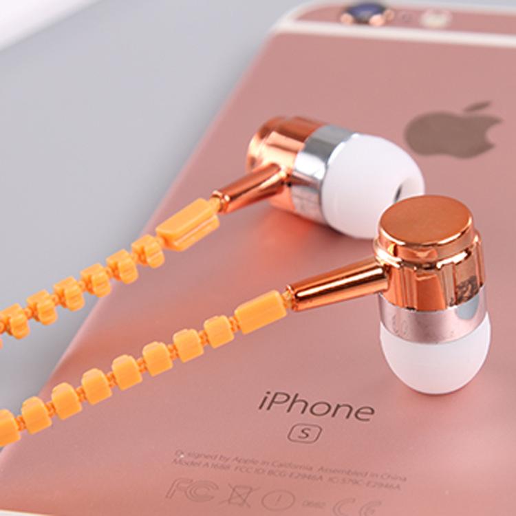 包邮拉链防缠入耳式带麦克风耳机重低音通用电镀时尚创意手机耳塞