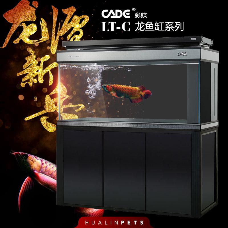 彩鲽CADE龙潭新兵LT-C龙鱼缸系列强过滤全白玻璃龙鱼缸